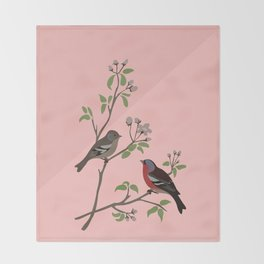 Peaceful harmony in the cherry tree - Illustration Throw Blanket