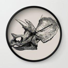 Dinosaur Skeleton Ink Pen Illustration Triceratops Wall Clock