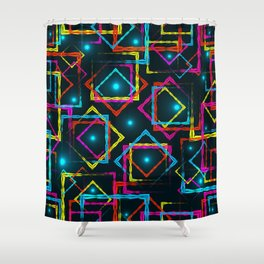 Bright rhombuses and squares with blue highlights in the intersection on a dark background. Shower Curtain