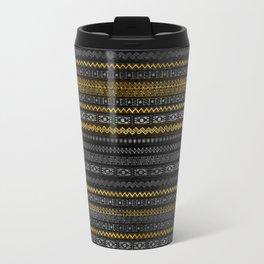 Gold and Silver Tribal Pattern on Black  wood Travel Mug
