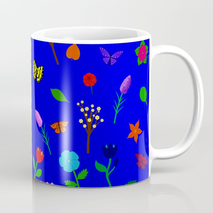 Scattered Flowers and Butterflies, blue background Coffee Mug