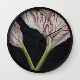 Striped Tulip on Black Wall Clock