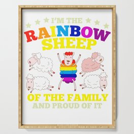 LGBT pride rainbow sheep family gift Serving Tray