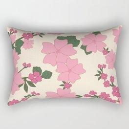 Flowers, Petals, Leaves, Blossoms - Pink Green Rectangular Pillow