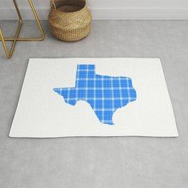 Texas State Shape: Blue Plaid Rug