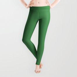 Solid Light Forest Green Color Leggings