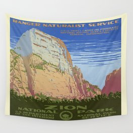 Vintage poster - Zion National Park Wall Tapestry
