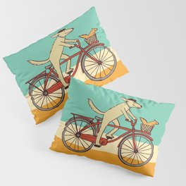 Cycling Dog with Squirrel Friend Pillow Sham