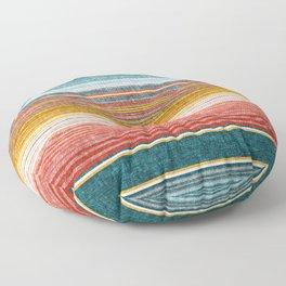 serape southwest stripe - orange & teal Floor Pillow