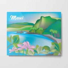 Maui, Hawaii - Skyline Illustration by Loose Petals Metal Print