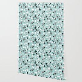 Origami kitten friends // aqua background paper cats Wallpaper