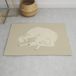 White Dog Sleeping Rug