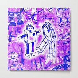 Purple Robot Love Metal Print