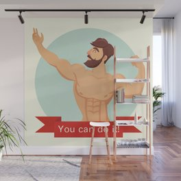 You can do it motivational and inspirational poster. Gym, bodybuilding, concept image, beard Wall Mural
