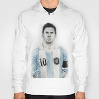messi Hoodies featuring Lio Messi by Alan Myers