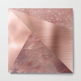 Rose Gold Mixed Texture Geometric Pattern Glitter Foil Sparkle Metal Print
