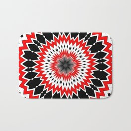 Bizarre Red Black and White Pattern Bath Mat