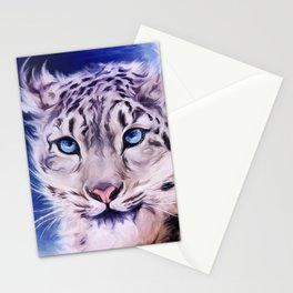snowy leopard Stationery Cards
