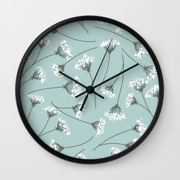 Queen Anne's Lace Floral Pattern Wall Clock