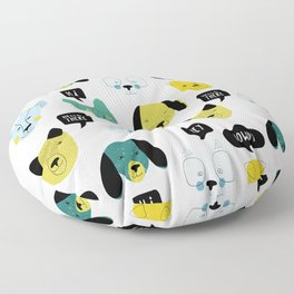 Happy Puppies saying hello Dogs pattern Floor Pillow