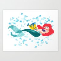 Ariel and Flounder Art Print