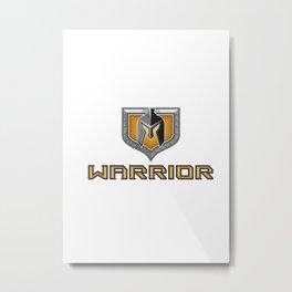 Spartan Warrior Helmet Shield Retro Metal Print