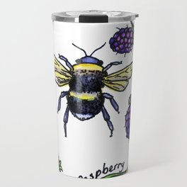British summer berries and bee Travel Mug