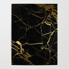 Black and Gold Marble Poster