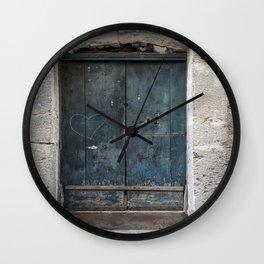 Green Door with Heart Wall Clock