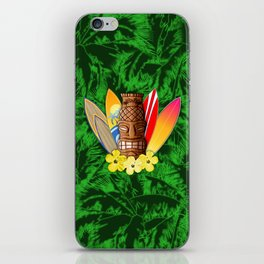 Surfboards And Tiki Mask Palm Trees iPhone Skin