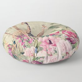 Vintage & Shabby Chic - Tropical Animals And Flower Garden Floor Pillow