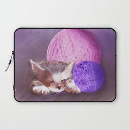 Tiny Sleepy Kitten Laptop Sleeve