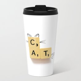 Cat Scrabble Metal Travel Mug