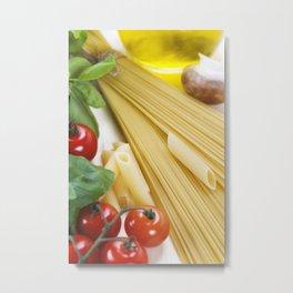 Italian Pasta with tomatoes, mushrooms, olive oil and basil Metal Print