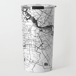 Amsterdam White on Gray Street Map Travel Mug