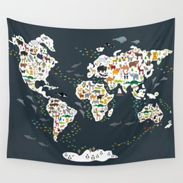 Cartoon animal world map for kids, back to schhool. Animals from all over the world Wall Tapestry