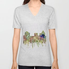Greensboro, North Carolina Skyline - Faded Glory Unisex V-Neck