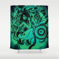 blues Shower Curtains featuring BLUES by Akinawa