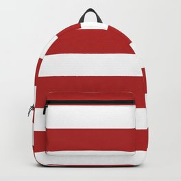 Horizontal Stripes - White and Firebrick Red Backpack