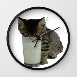 Cute Wild Kitten With A Glass Full of Optimism Wall Clock