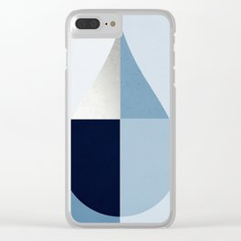 Geometric raindrop - chambray blues Clear iPhone Case
