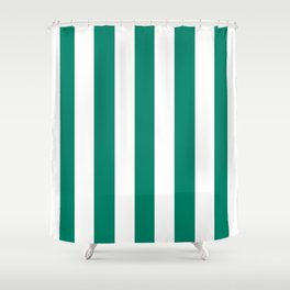 Generic viridian green - solid color - white vertical lines pattern Shower Curtain