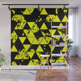 Splatter Triangles In Black And Yellow Wall Mural