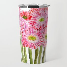 Pink Gerbera Daisy watercolor Travel Mug