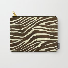 Animal Print Zebra in Winter Brown and Beige Carry-All Pouch