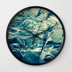Cracked Rocks Blue Wall Clock