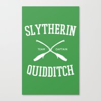 quidditch Canvas Prints featuring Hogwarts Quidditch Team: Slytherin by IA Apparel