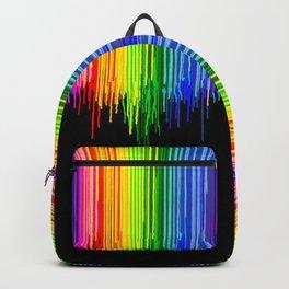 Rainbow Paint Drops on Black Backpack
