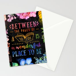 Between the pages - black Stationery Cards