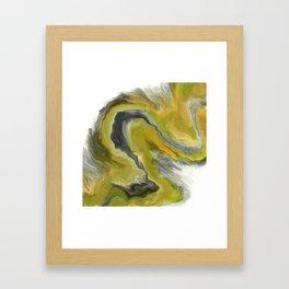 Golden Yellow Wave Digital Fluid Art Framed Art Print